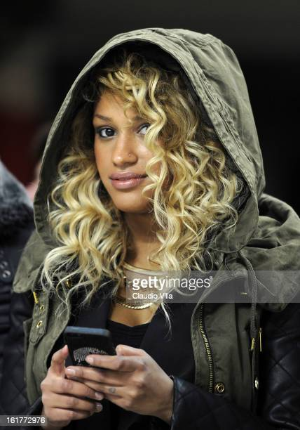Fanny Neguesha attends during the Serie A match between AC Milan and Parma FC at San Siro Stadium on February 15 2013 in Milan Italy
