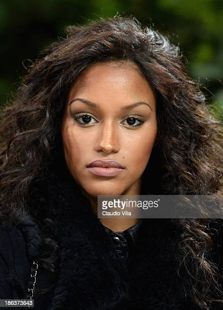 Fanny Neguesha attends the Serie A match between AC Milan and SS Lazio at San Siro Stadium on October 30 2013 in Milan Italy