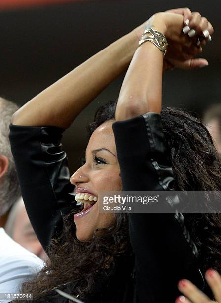 Fanny Neguesha attends the Serie A match between AC Milan and SSC Napoli at San Siro Stadium on September 22 2013 in Milan Italy