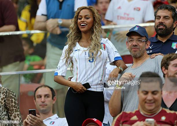 Fanny Neguesha belgian fiancee of Mario Balotelli of Italy attends the 2014 FIFA World Cup Brazil Group D match between England and Italy at Arena...