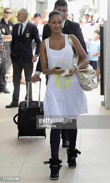 Fanny Neguesha depart from the hotel to the airport of Salvador de Bahia on June 23 2013 in Salvador Brazil