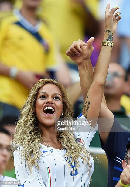 Fanny Neguesha fiancee of Mario Balotelli of Italy cheers in the crowd during the 2014 FIFA World Cup Brazil Group D match between England and Italy...