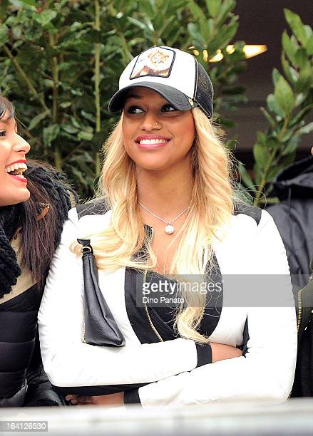 Fanny Neguesha girlfriend of Balotelli attends during the Serie A match between AC Milan and US Citta di Palermo at San Siro Stadium on March 17 2013...