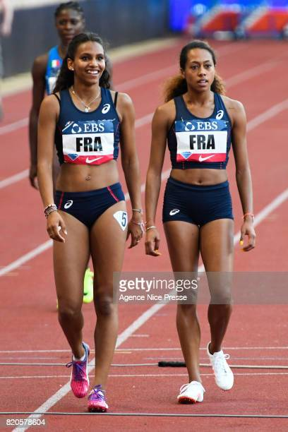 Fanny Peltier and Ayodele Ikuesan of France 4x100 m relay women during the IAAF Diamond League Meeting Herculis on July 21 2017 in Monaco Monaco