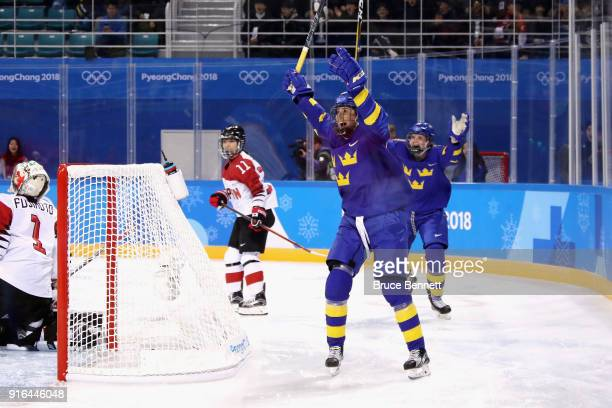 Fanny Rask of Sweden celebrates scoring a goal in the first period against Japan during the Women's Ice Hockey Preliminary Round - Group B game on...