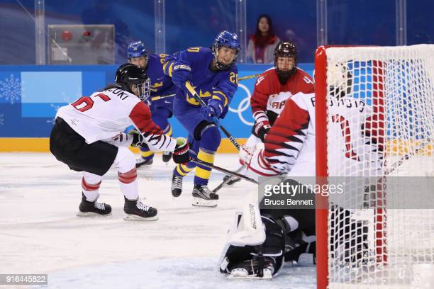 Fanny Rask of Sweden scores a goal in the first period against Japan during the Women's Ice Hockey Preliminary Round - Group B game on day one of the...