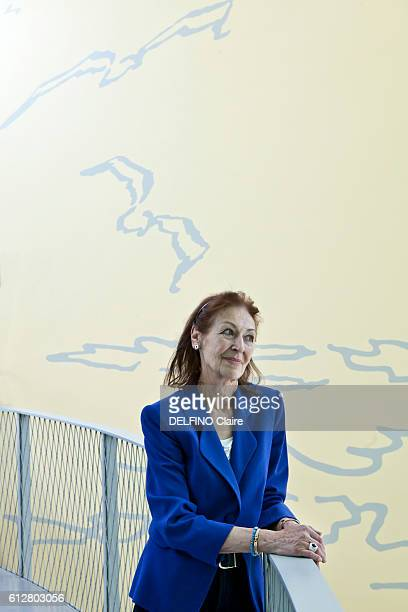 Fanny Rodwell the widow of Herge poses at the Herge Tintin Museum in LouvainLaNeuve on August 23 2016