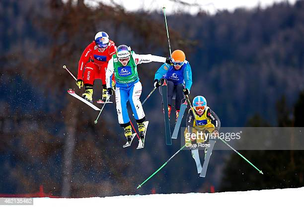 Fanny Smith of Switzerland Andrea Limbacher of Austria Nikol Kucerova of Czech Republic and Margarethe Aschauer of Germany compete in the semi final...