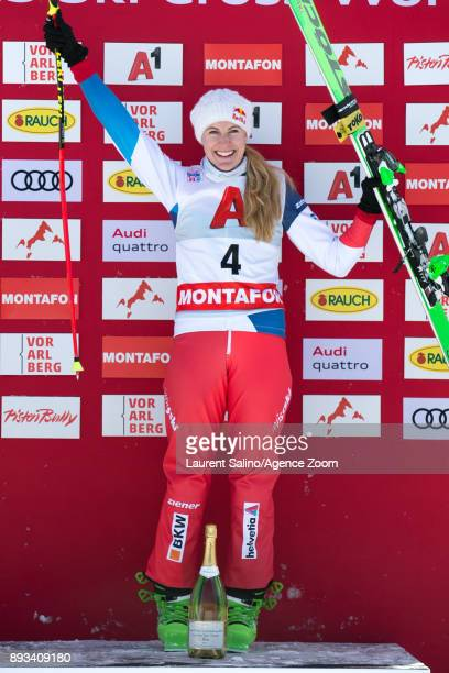 Fanny Smith of Switzerland takes 1st place during the FIS Freestyle Ski World Cup Men's and Women's Ski Cross on December 15 2017 in Montafon Austria