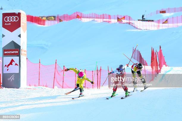 Fanny Smith of Switzerland takes 1st place Heidi Zacher of Germany takes 2nd place Sandra Naeslund of Sweden takes 3rd place during the FIS Freestyle...
