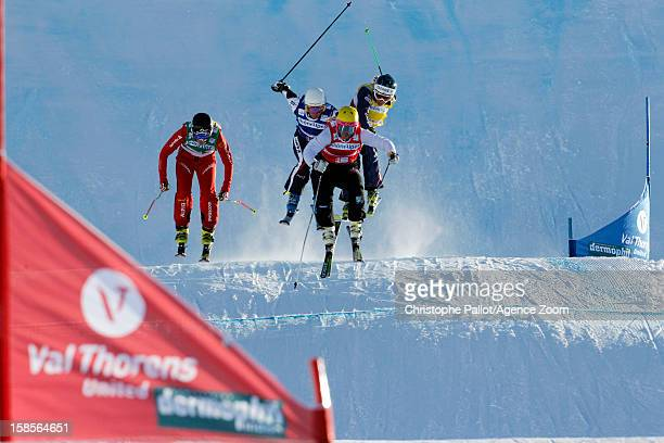 Fanny Smith of Switzerland takes 1st place Marte Hoeie Gjefsen of Norway takes 2nd place Andrea Limbacher of Austria takes 3rd place competes during...