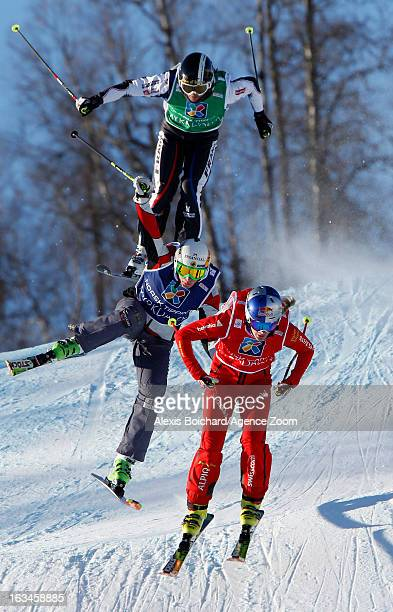 Fanny Smith of Switzerland takes 1st placeMarielle Thompson of Canada takes 2nd placeOphelie David of France takes 3rd place during the FIS Freestyle...
