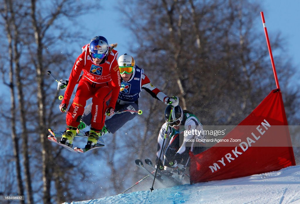 Fanny Smith of Switzerland takes 1st place,Marielle Thompson of Canada takes 2nd place,Ophelie David of France takes 3rd place during the FIS Freestyle Ski World Championship Men's and Women's Ski Cross on March 10, 2013 in Voss, Norway.