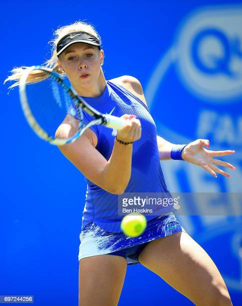 Fanny Stollar of Hungary hits a forehand during the qualifying match against Jana Fett of Croatia on day two of qualifying for the Aegon Classic at...