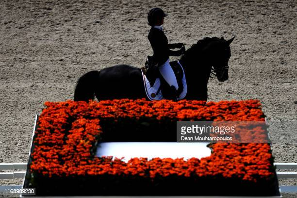Fanny Verliefden of Belgium riding Indoctro van der Steenblok competes during Day 1 of the Dressage Grand Prix Team Competition at the Longines FEI...