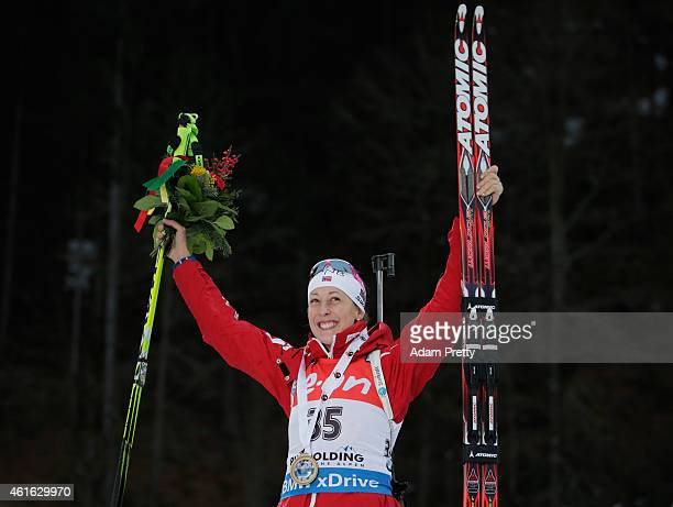 Fanny Welle-Strand Horn of Norway celebrates after victory in the IBU Biathlon World Cup Women's Sprint on January 16, 2015 in Ruhpolding, Germany.