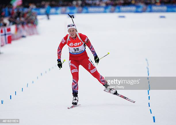 Fanny Welle-Strand Horn of Norway corsses the line for victory in the IBU Biathlon World Cup Women's Sprint on January 16, 2015 in Ruhpolding,...