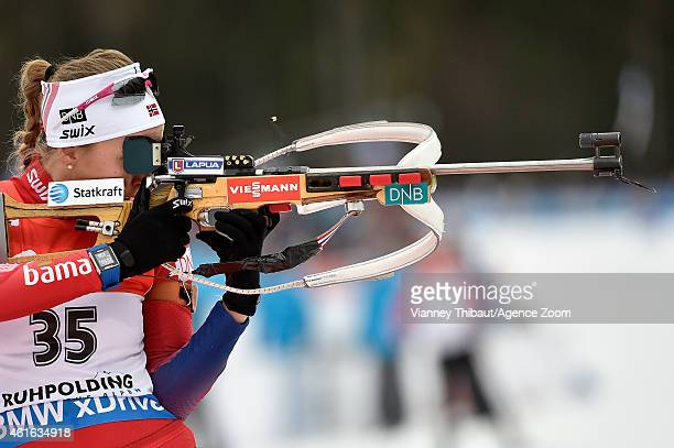 Fanny Welle-Strand Horn of Norway takes 1st place during the IBU Biathlon World Cup Women's Sprint on January 16, 2015 in Ruhpolding, Germany.