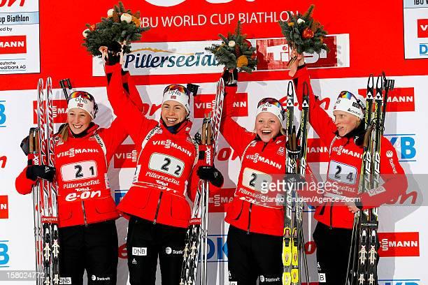 Fanny WelleStrand Horn Synnoeve Solemda Fenne Hilde Tora Berger of Norway take 1st place during the IBU Biathlon World Cup Women's Relay on December...