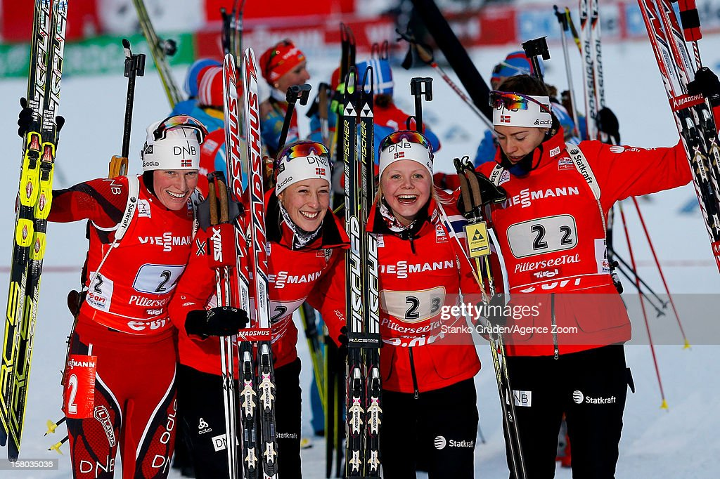 Fanny Welle-Strand Horn, Synnoeve Solemda, Fenne Hilde, Tora Berger of Norway takes 1st place during the IBU Biathlon World Cup Women's Relay on December 09, 2012 in Hochfilzen, Austria.