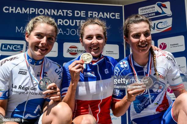 Fanny Zambon of DN Auvergne Rhone Alpes Juliette Labous of Team Sunweb and Maelle Grossetete of FDJ Nouvelle Aquitaine Futuroscope during the Cycling...