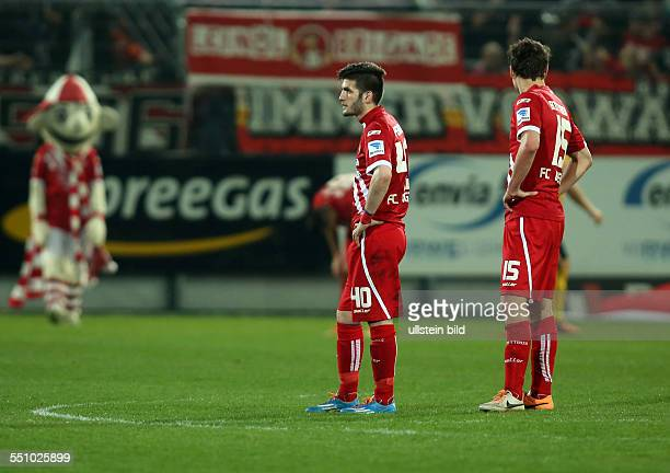Fanol Perdedaj, Alexander Bittroff, enttaeuscht enttäuscht, Aktion , FC Energie Cottbus - Dynamo Dresden, zweite Bundesliga, Sport, Fußball Fussball,...