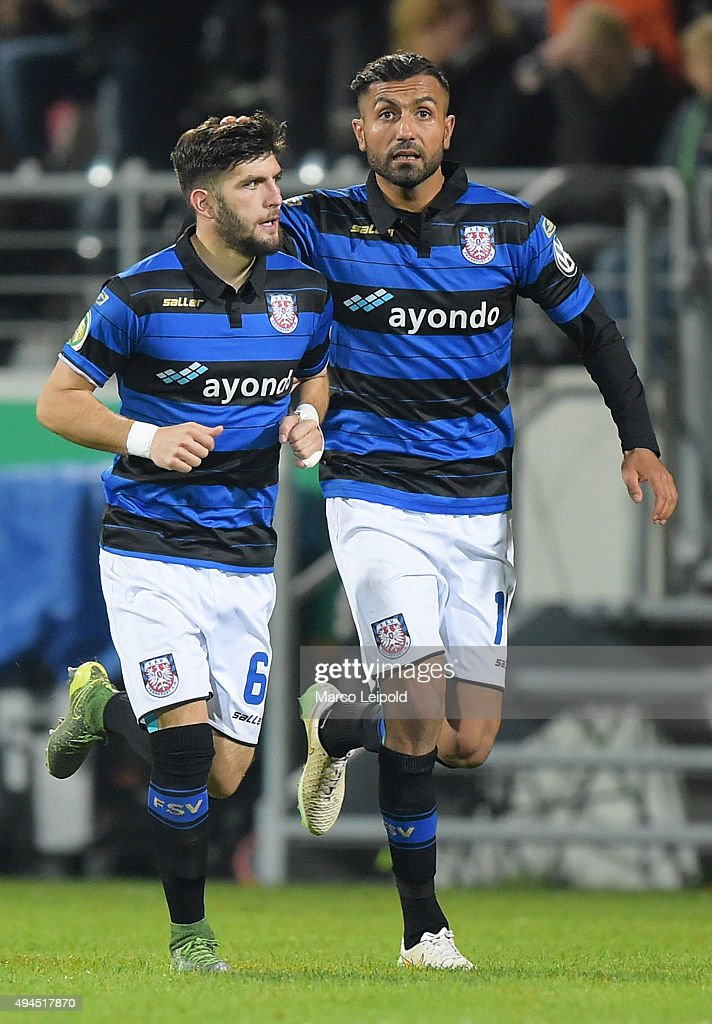 fanol Perdedaj and Joan Oumari of FSV Frankfurt celebrate after scoring the 1:0 during the game between dem FSV Frankfurt and Hertha BSC on october 27, 2015 in Frankfurt on Main, Germany.