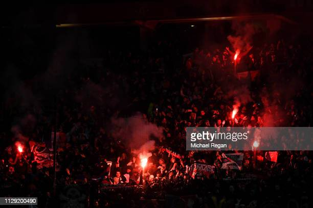 PSG fans ahead of kick off during the UEFA Champions League Round of 16 First Leg match between Manchester United and Paris SaintGermain at Old...