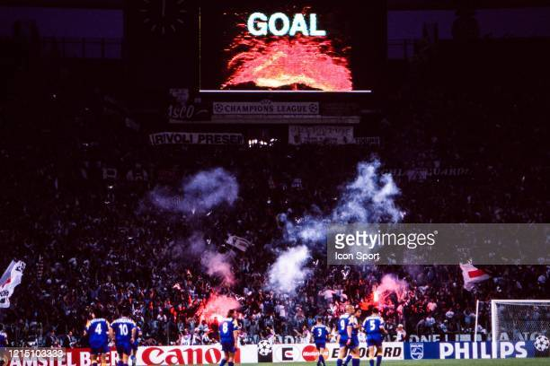 Fans Ajax celebrate the goal with lightfire during the Champions League Final match between Ajax Amsterdam and Juventus Turin at Stadio Olimpico Roma...
