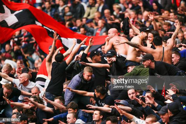 Fans Ajax during the Uefa Europa League semi final first leg match between Ajax Amsterdam and Olympique Lyonnais at Amsterdam Arena on May 3 2017 in...