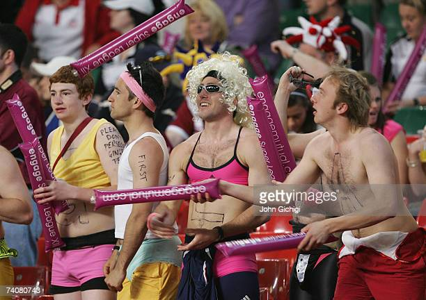 Fans amuse themselves during the Engage Super League match between Catalans Dragons and Harlequins RL at the Millennium Stadium on May 5 2007 in...