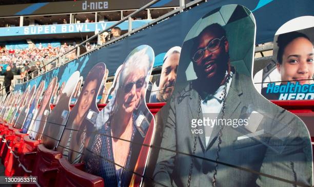 Fans and fan cardboard cutouts are seen during the Pepsi Super Bowl LV between the Tampa Bay Buccaneers and the Kansas City Chiefs at Raymond James...