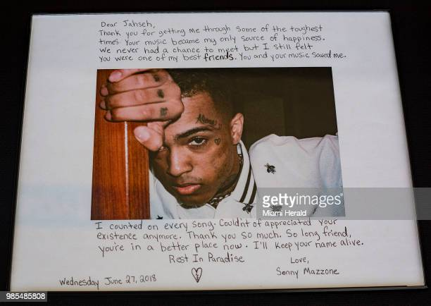 Fans and mourners left artwork at the BBT Center for the memorial service in honor of slain rapper XXX Tentacion in Sunrise Fla on Wednesday June 27...