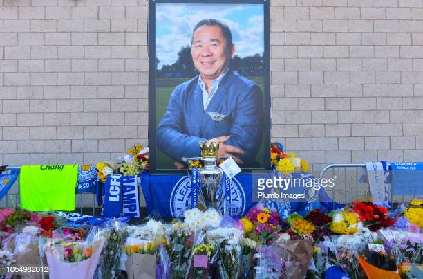 Fans and mourners pay their respects at Leicester City's King Power Stadium after owner Vichai Srivaddhanaprabha and four others died in a helicopter...