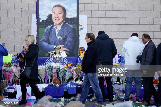 Fans and mourners pay their respects to Leicester City owner Vichai Srivaddhanaprabha who died in a helicopter crash at at Leicester City Football...