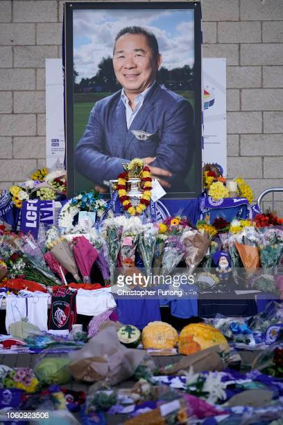 Fans and mourners pay their respects to Leicester City's Football Club's Thai chairman Vichai Srivaddhanaprabha who died in a helicopter crash at at...