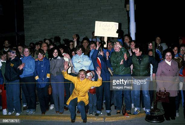 Fans and other wellwishers photographed outside the wedding of Robert F Kennedy Jr and Emily Ruth Black on April 3 1982 in Bloomington Indiana