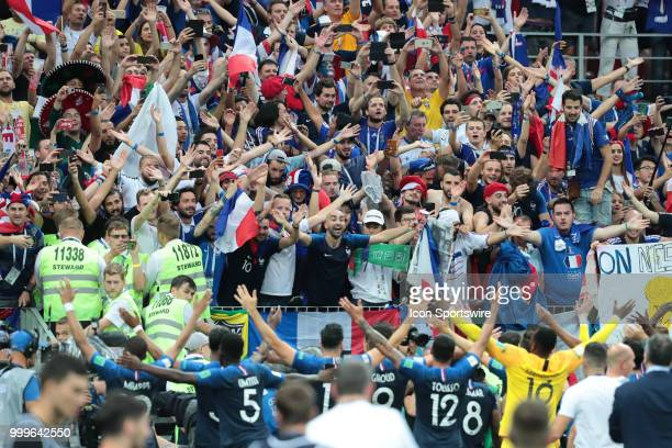 Fans and players of France National team celebrate the win of the final match between France and Croatia at the FIFA World Cup on July 15 2018 at the...