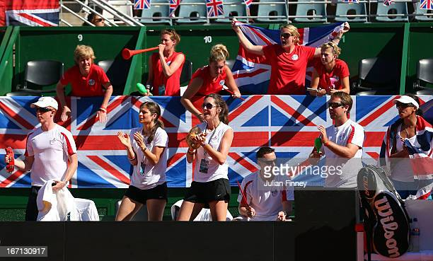 GB fans and support staff make some noise for Laura Robson of Great Britain against Paula Ormaechea of Argentina during day two of the Fed Cup World...