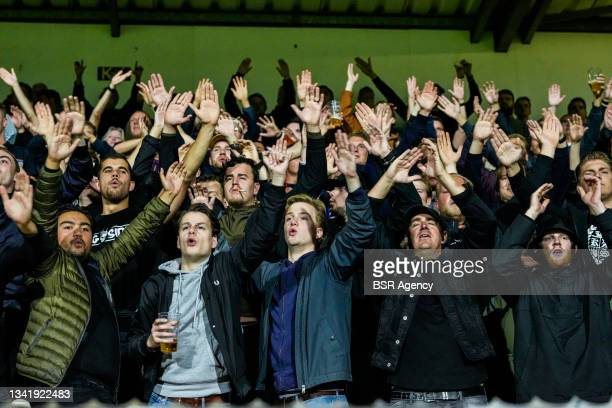 Fans and supporters of Willem II during the Dutch Eredivisie match between RKC Waalwijk and Willem II at Mandemakers Stadion on September 21, 2021 in...