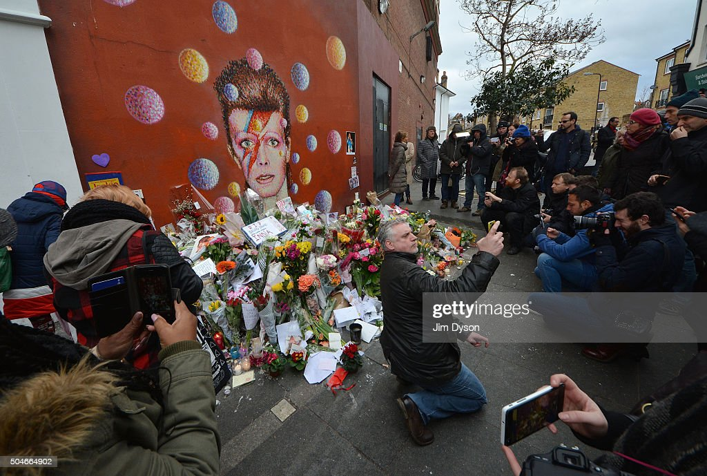 Tributes Are Made After The Death Of Music Icon David Bowie : News Photo