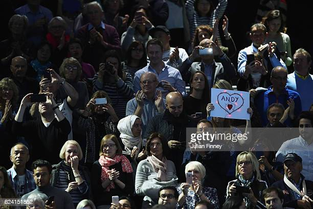 Fans applaud after Andy Murray's victory against Stan Wawrinka of Switzerland on day six of the ATP World Tour Finals at O2 Arena on November 18 2016...