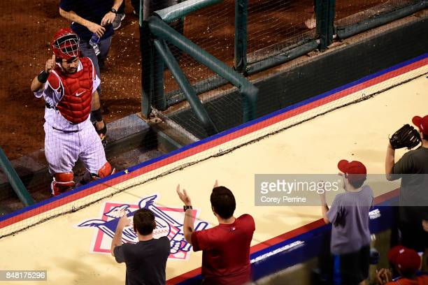Fans applaud Jorge Alfaro of the Philadelphia Phillies after his efforts of a tworun homer that opened up the game against the Oakland Athletics...