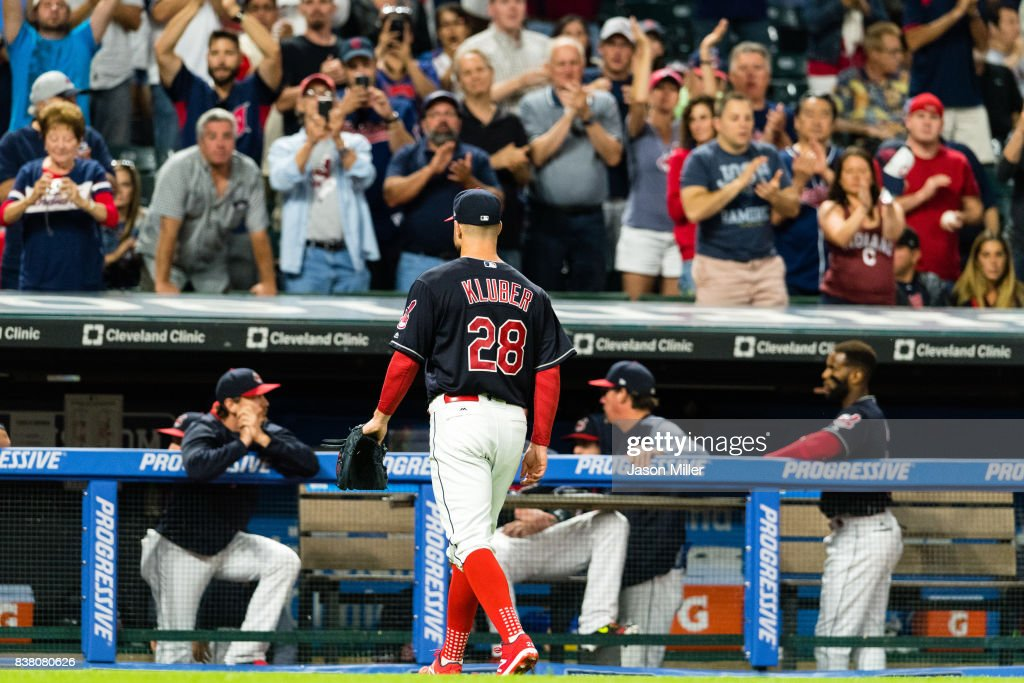 Fans applaud starting pitcher Corey Kluber #28 of the Cleveland Indians as he leaves the game during the eighth inning against the Boston Red Sox at Progressive Field on August 23, 2017 in Cleveland, Ohio.