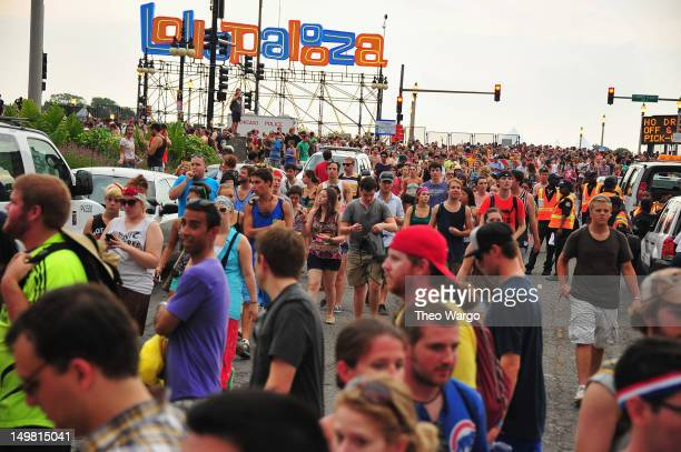 Fans are evacuated from Grant park due to an approaching storm during 2012 Lollapalooza at Grant Park on August 4 2012 in Chicago Illinois