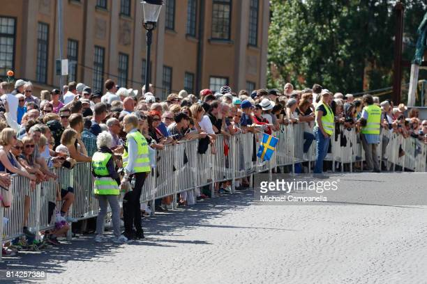 Fans are gathered outside on the occasion of The Crown Princess Victoria of Sweden's 40th birthday celebrations at the Royal Palace on July 14 2017...