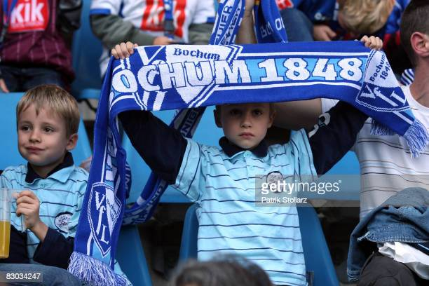 Fans are pictured during the Bundesliga match between VfL Bochum and Bayer Leverkusen at the rewirpower stadium on September 27, 2008 in Bochum,...