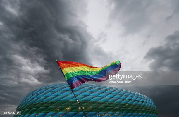 Fans are pictured in front of the Allianz Arena soccer stadium ahead of the Euro 2020 Group F match between Germany and Hungary on June 23, 2021 in...