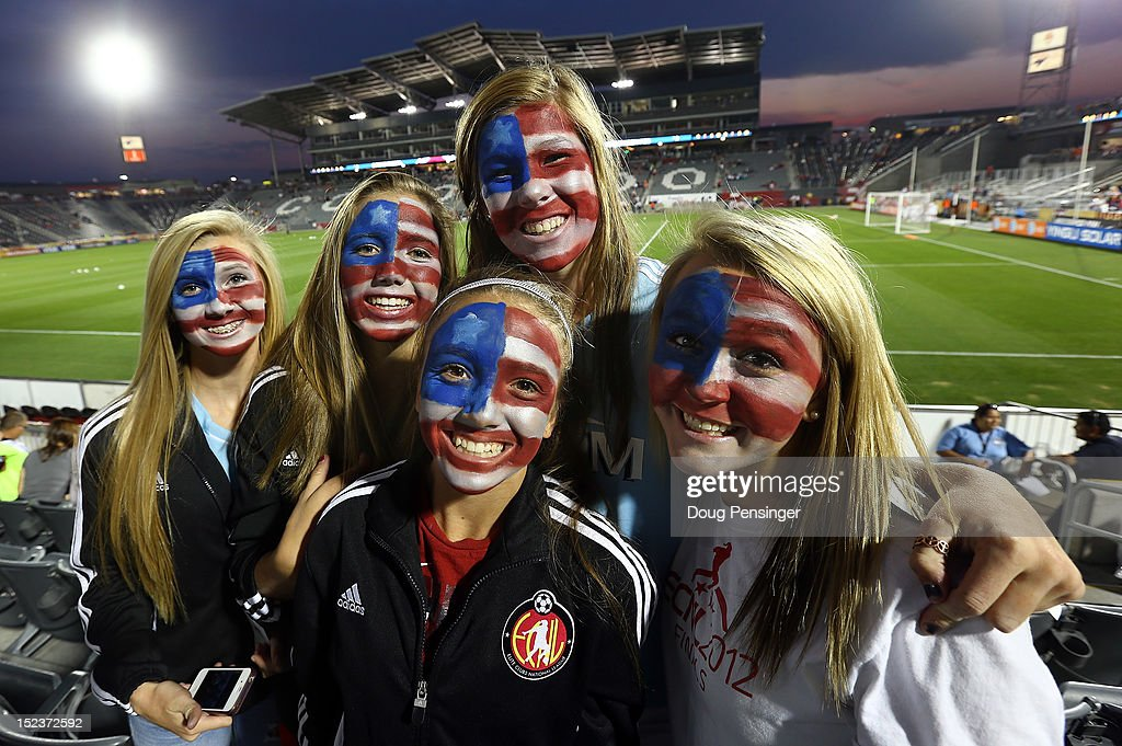 Fans are prepared to support the USA as they face Australia in a women's International Friendly at Dick's Sporting Goods Park on September 19, 2012 in Commerce City, Colorado.
