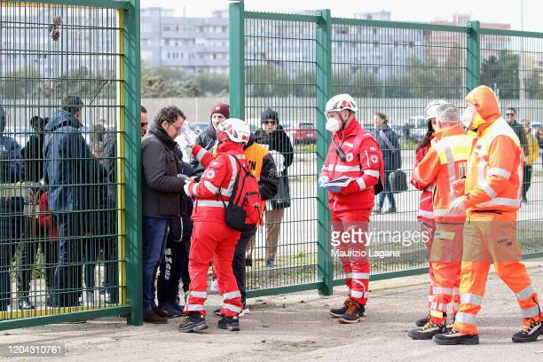 Fans are scanned by sanitary staff prior the Serie A match between US Lecce and Atalanta BC at Stadio Via del Mare on March 1, 2020 in Lecce, Italy.